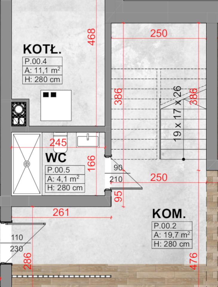 W tym projekcie możecie zobaczyć klasyczną klatkę schodową, czyli sytuację kiedy schody są obudowane ścianami pełnymi. W projekcie tego domu klatka schodowa pojawiała się na lewo od wejścia, natomiast strefa dzienna na prawo. Dzięki zastosowaniu klatki schodowej komunikacja w domu nie przenika się ze strefą dzienną.