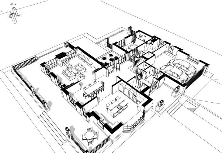 Amerykański dom z wysokim salonem - widok 3D parteru