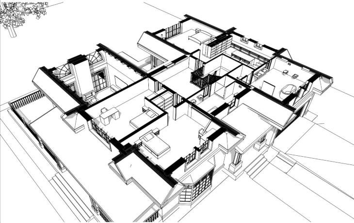 Amerykański dom z wysokim salonem - widok 3D poddasza