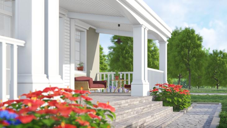Klimatyczna weranda - element charakterystyczny domu amerykanskiego