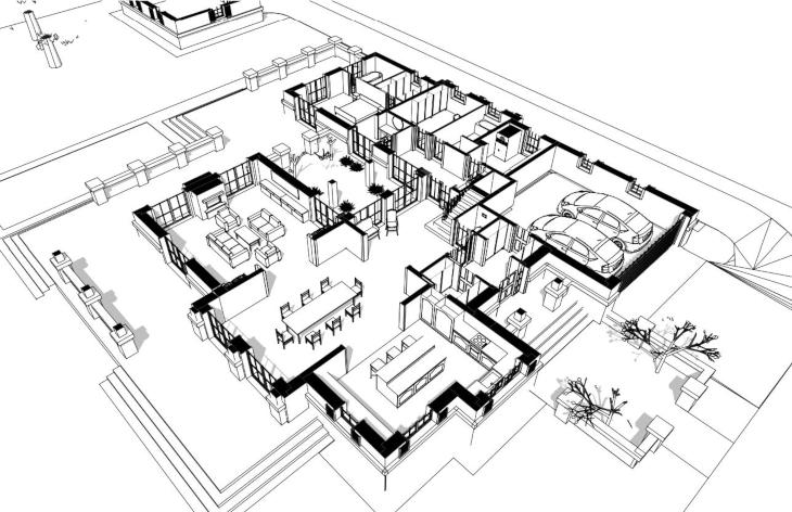 Dom amerykański - widok 3D parteru