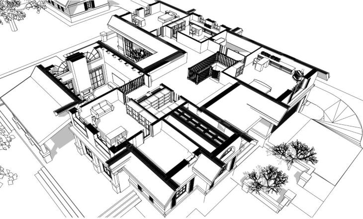 Dom amerykański - widok 3D poddasza