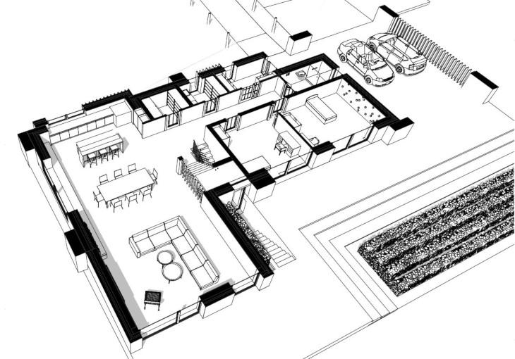 Ceglany dom w nowoczesnym stylu - aksonometria parter
