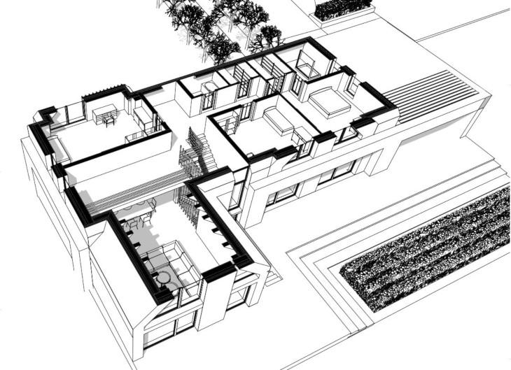 Ceglany dom w nowoczesnym stylu - aksonometria piętro