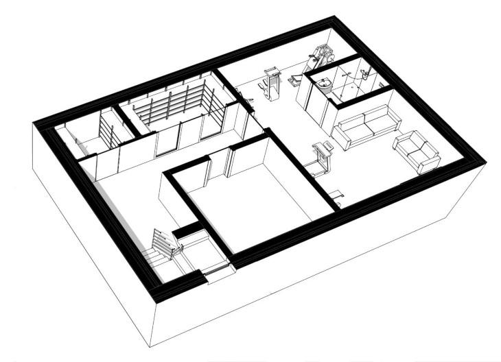 Ceglany dom w nowoczesnym stylu - aksonometria piwnica