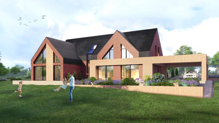 Ceglany dom w nowoczesnym stylu