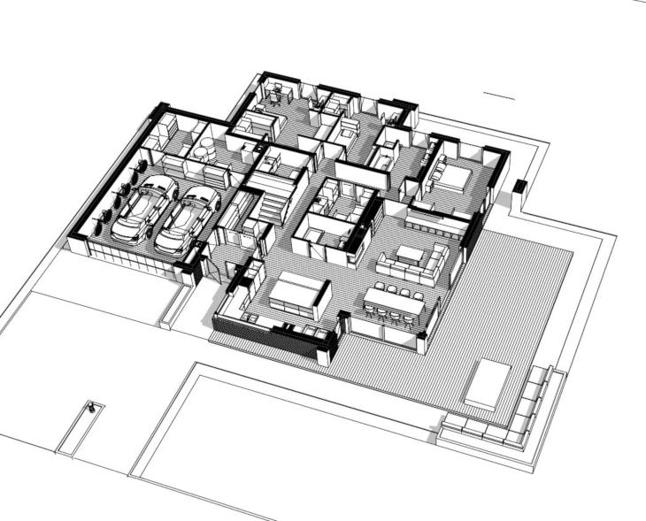 Dom piętrowy - projekt indywidualny - widok 3D parter