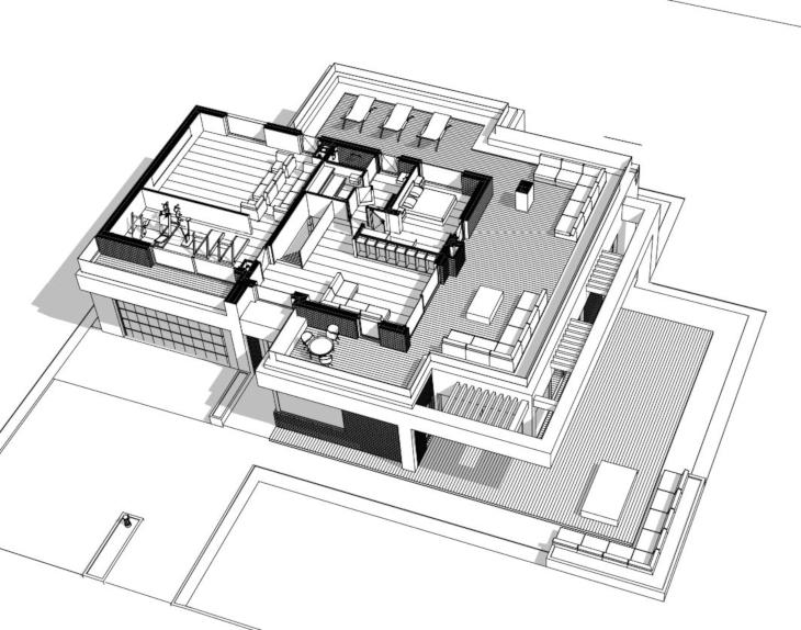 Dom piętrowy - projekt indywidualny - Widok 3D piętro