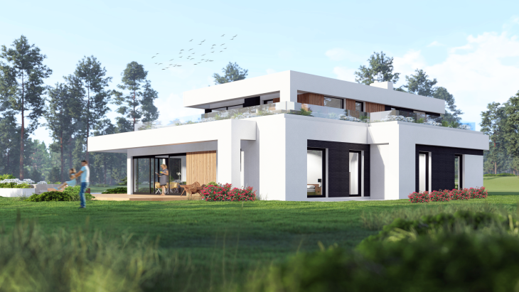 Dom piętrowy - elewacja od strony ogrodu