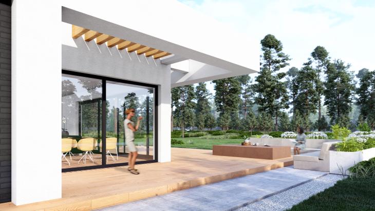 Dom piętrowy - widok na taras