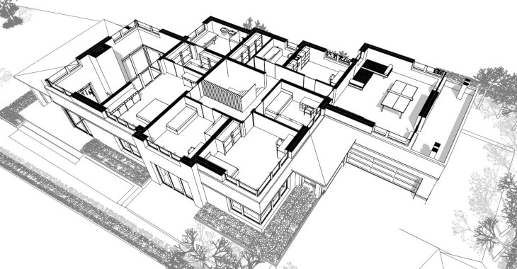 widok 3D drugiej kondygnacji domu marzeń na bardzo nietypowej działce