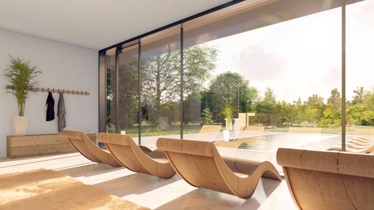 Wnętrze nowoczesnego domku gościnnego
