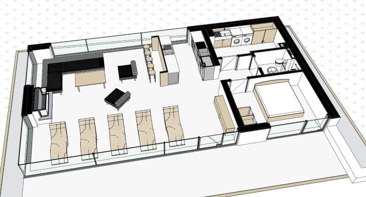 Nowoczesny domek gościnny - widok 3D wnętrza