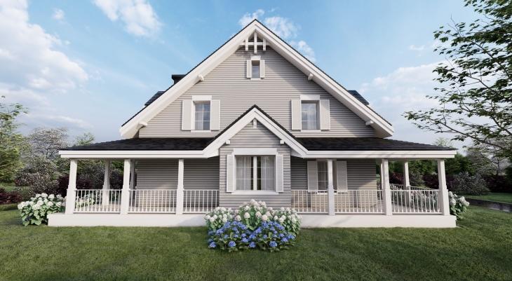 Elewacja ogrodowa - nietypowy układ w domu amerykańskim