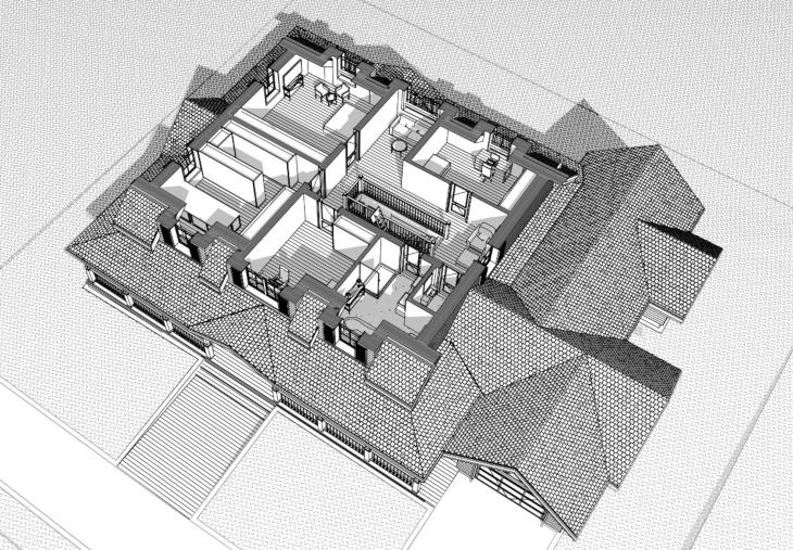 Widok 3D poddasza - dom amerykański